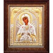 Icoana Argintata in Rama 17X16 cm - Maica Domnului - Sapte Sageti