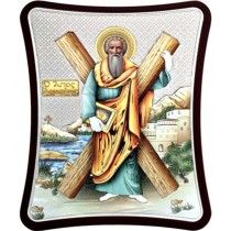 Icoana Argintata Color 16x21 cm Sfantul Apostol Andrei