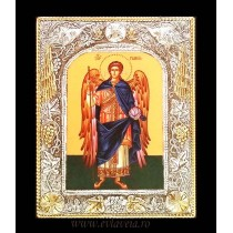 B8 - Icoana Argintata / Aurita 19 X 24 cm Sfantul Arhanghel Gavriil