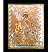 B4 - Icoana Argintata / Aurita 19 X 24 cm Sfantul Arhanghel Mihail