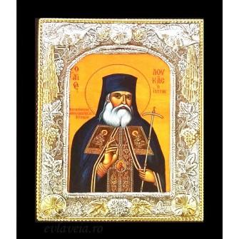 B7 - Icoana Argintata / Aurita 19x24 cm Sfantul Luca al Crimeei
