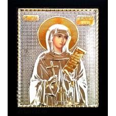 B17 - Icoana Argintata / Aurita 19x24 cm  Sfanta Parascheva