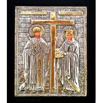 B12 - Icoana Argintata / Aurita Sfintii Imparati Constantin si Elena