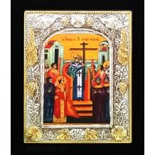 Icoana Argintata / Aurita 19x24 cm Inaltarea Sfintei Cruci
