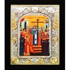 B2 - Icoana Argintata / Aurita 19x24 cm Inaltarea Sfintei Cruci