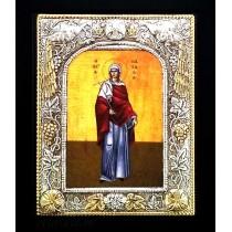 C10 - Icoana Argintata / Aurita 19 X 24 cm Sfanta Mucenita Natalia