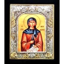 Icoana 19x24 cm Argintata / Aurita Sfanta Teodora din Vasta