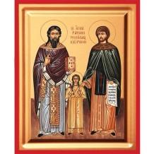 C11 - Icoana Pictata 19X25 cm Sfintii Rafail, Irina si Nicolae