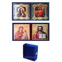 Icoana Diptic catifea albastra cu icoane litografiate 19X16 cm