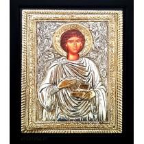 B8 - Icoana Argintata / Aurita 19x24 cm Sfantul Pantelimon