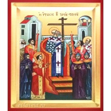 D21 - Icoana Pictata 19X25 cm Inaltarea Sfintei Cruci