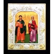 F8 - Icoana 19 X 24 cm Sfintii Mucenici Adrian si Natalia