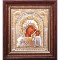 F5 - Icoana Argintata in Rama 23X25 cm Maica Domnului din Kazan