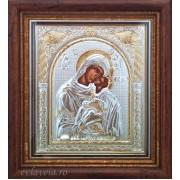 Icoana Argintata in Rama 23X25 cm - Maica Domnului - Dulcea Sarutare