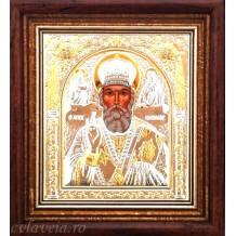 C16 - Icoana 23X25 cm Argintata/Aurita Sfantul Nicolae