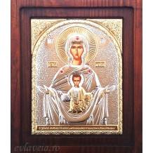 Icoana Argintata 20X16.5 cm Maica Domnului Znamenie ( Icoana Semnului )