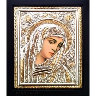 B12 - Icoana Argintata / Aurita 19x24  cm Maica Domnului
