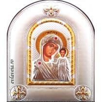 Icoana 14 X 18 cm  Argintata Maica Domnului Kazan