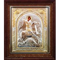 F7 - Icoana 23X25 cm Argintata/Aurita Sfantul Mucenic Gheorghe