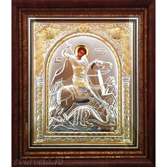 D16 - Icoana 23X25 cm Argintata/Aurita Sfantul Mucenic Gheorghe