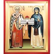 Icoana 19X25 cm Pictata Sfintii Ciprian si Iustina