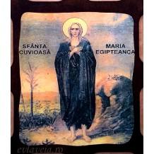 Icoana Pirogravata 10X13 cm Sfanta Cuvioasa Maria Egipteanca