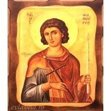 Icoana Pirogravata 10X13 cm Sfantul Mucenic Fanurie