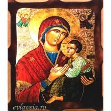 Icoana Pirogravata 10X13 cm Maica Domnului cu Pruncul
