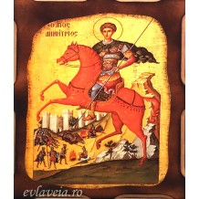 Icoana Pirogravata 10X13 cm Sfantul Mucenic Dimitrie