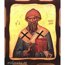 Icoana Pirogravata 10X13 cm Sfantul Spiridon Episcop al Trimitundei