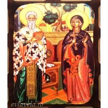 Icoana Pirogravata 10X13 cm Sfantul Ciprian si Sfanta Iustina