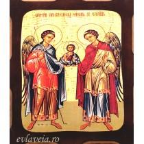 Icoana Pirogravata 10X13 cm Sfintii Arhangheli Mihail si Gavriil