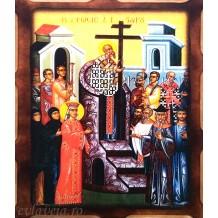 E5 - Icoana Pirogravata 16X21 cm - Inaltarea Sfintei Cruci