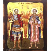 Icoana Pirogravata 16X21 cm - Sfintii Arhangheli Mihail si Gavriil