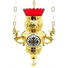Candela cu lant aurita 12x24 cm