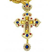 Cruce pectorala 10 x 19 cm cu pietre albastre