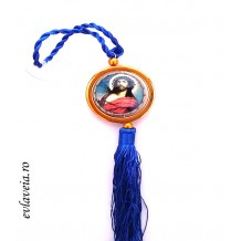 Medalion auto rotativ cu Mantuitorul si Maica Domnului